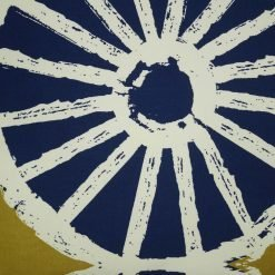 Cushion cover close up showing white circle design