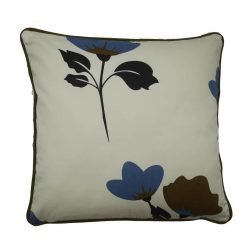 Light background cushion with stunning blue flower and black edging