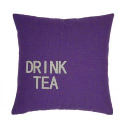Purple cushion cover with drink tea text