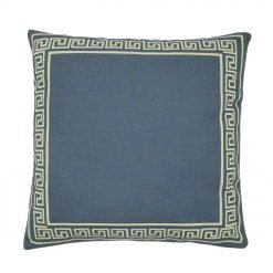 Deep blue cushion cover with square patter