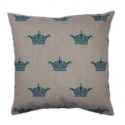 teal crown pattern on linen cotton cushion cover