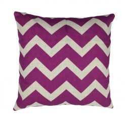 purple chevron pattern on linen cushion