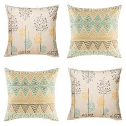4 cushion cover set featuring light backgrounds and stunning thin lined patterns in teal yellow and dark red