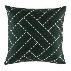Dark cushion cover with woven pattern in light fine lines