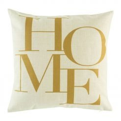 Cushion cover with HOME text in gold print
