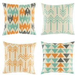 4 cushion cover set in bright teal and orange patterns