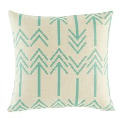 Light cushion cover with double headed arrow pattern in teal