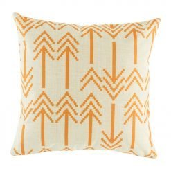 Light cushion cover featuring double headed arrow pattern in orange