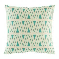 Teal accent cushion cover on cotton linen material