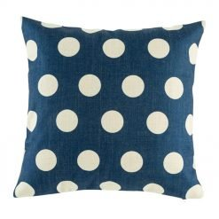 Blue cushion cover with white polka dots