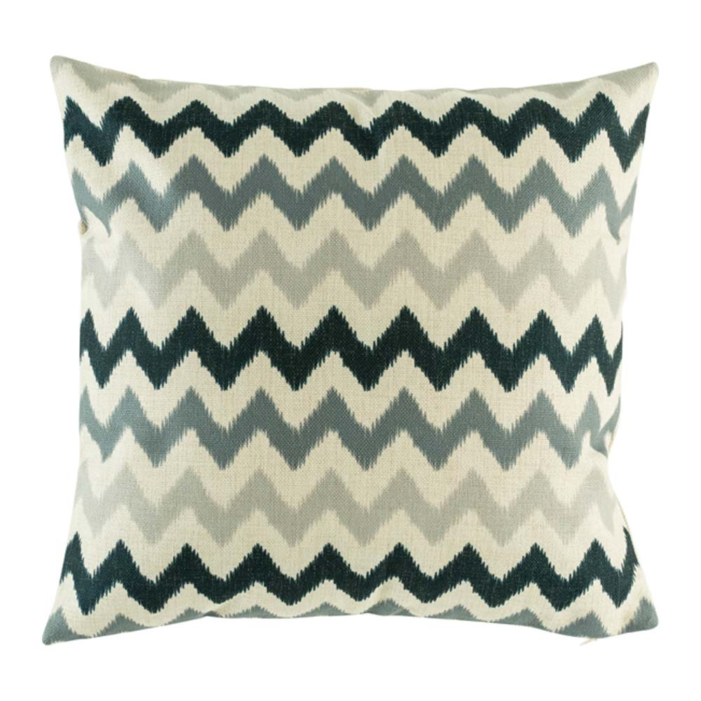 Natural cushion with black and grey chevron stripes