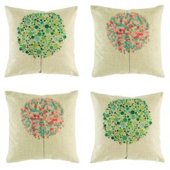 Collection of 4 cushion with colourful green and pink bubble trees