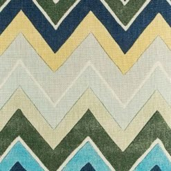 Chevron cushion cover with bold blue green and yellow colours