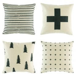Contemporary set of cushion covers with funky black designs