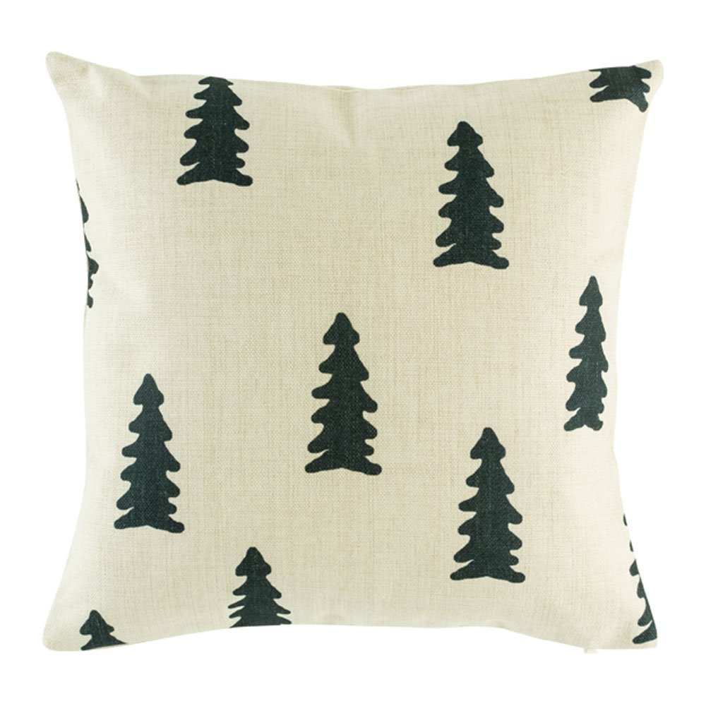 Cushion cover with black tree motif