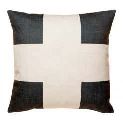 Cotton linen cushion cover with black cross print