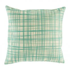Natural cushion cover with teal cross pattern