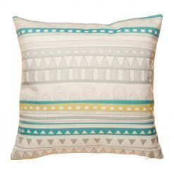 Grey and teal striped cushion cover