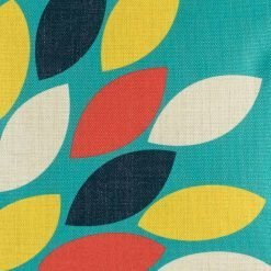 Close up of blue, yellow and red cushion