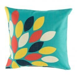 Green blue cushion with yellow, navy and red pattern