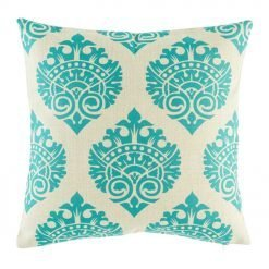 Elegant teal pattern on natural coloured cushion cover