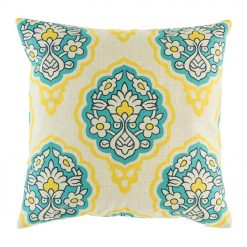 Funky blue and yellow pattern on cotton linen cushion cover