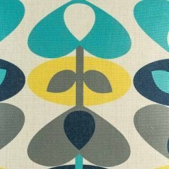 Close up of cushion cover with colourful clover pattern