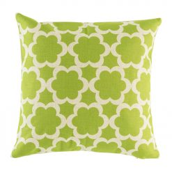 Green flower pattern on cotton linen cushion cover