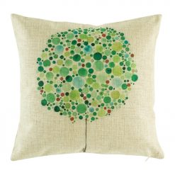 Cotton linen cushion cover with green bubble tree pattern