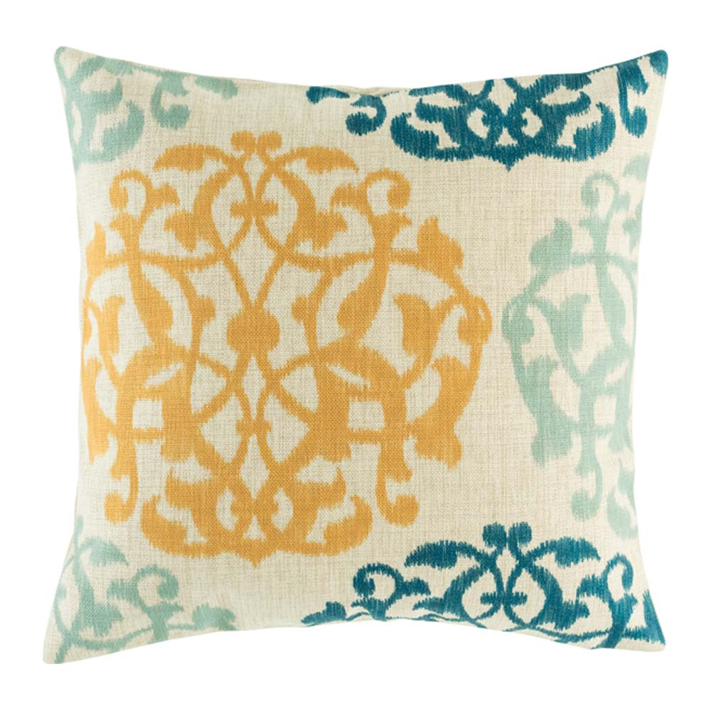 Yellow and blue pattern on cotton linen cushion cover