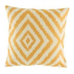 Yellow funky pattern on cotton linen cushion cover