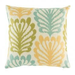 Blue, yellow and green shell pattern on cotton cushion cover