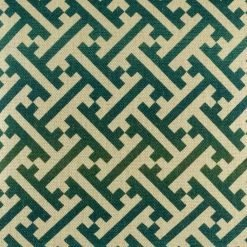 Close up of green jagged design on cushion cover