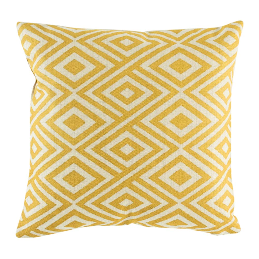Scatter cushion cover with lively yellow grid pattern