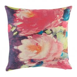 Cushion cover with pink and purple floral design