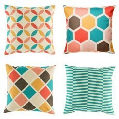 Bright colourful cushion cover set with teal orange pink and red colours