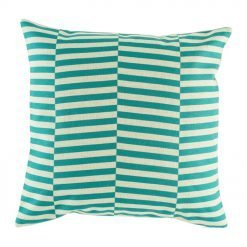 Cushion cover with staggered teal design
