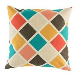 Colourful diamond pattern on cushion cover in teal red yellow and pink