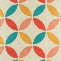 Close up of overlapping circle design in 4 colours