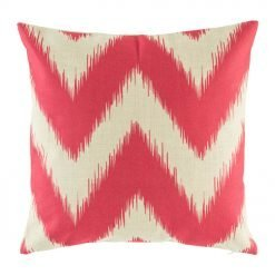 Light cushion with bright pink zig zag cushion cover