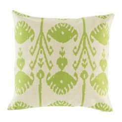 Light scatter cushion with green print