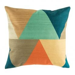 Cushion cover with bold large triangle shapes in orange teal and dark blues