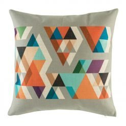 Grey cushion cover with vibrant bright colours