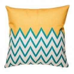 Yellow and teal chevron cushion cover