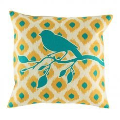 Bright teal bird on yellow background