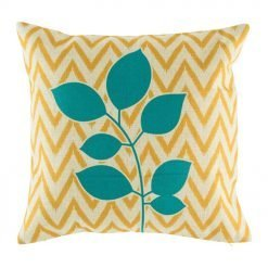 Yellow chevron cushion cover with teal leaf pattern