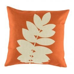 Orange cushion cover with leaf print