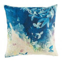 Whimsical blue cushion cover with painted scene