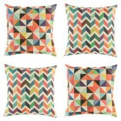Collection of four colourful cushion covers with diamond and chevron patterns