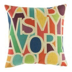 Rainbow coloured cushion cover with words rainbow is my favourite